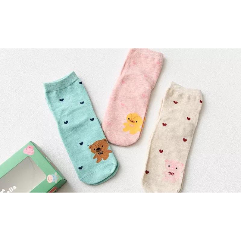 滿件送襪~️(4 6 歲)三入愛心動物短襪男童女童兒童寶寶 純棉童襪