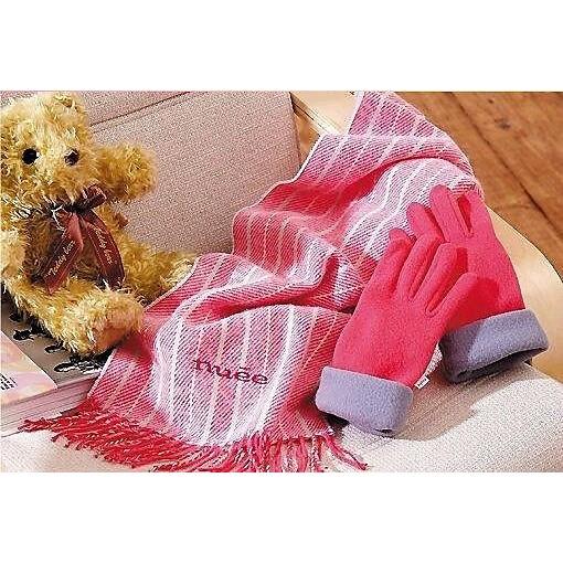 nuee 粉色條紋織花圍巾