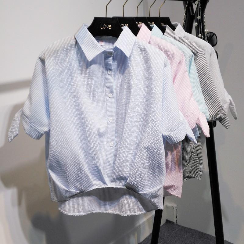 上班族 韓式小清新OL 風條紋袖口打結短袖襯衫S XL 五色