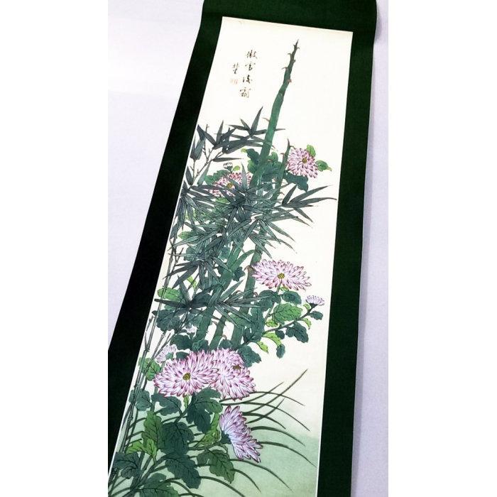 國畫名家林生花鳥畫傲雪凌霜長掛軸卷軸畫軸花鳥圖風景畫山水畫古畫古董畫