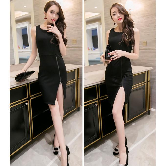 ~miya shop ~T229073 圓領拉鏈拼接下擺開叉修身包臀性感美麗連衣裙