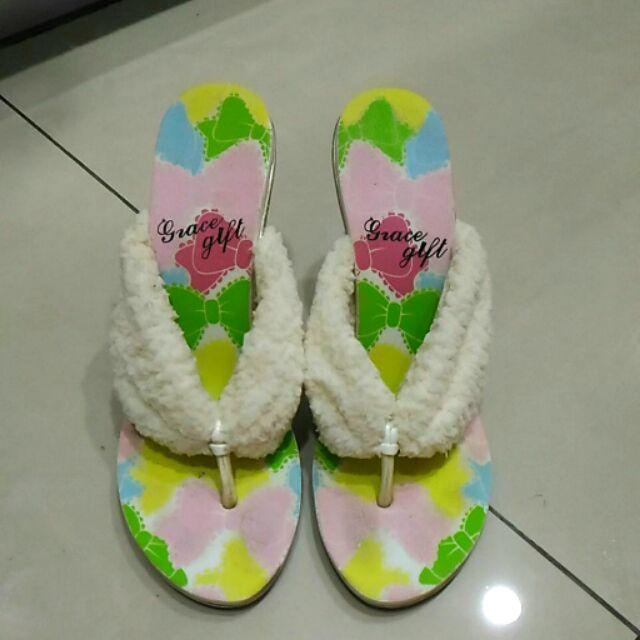 grace gift 專櫃高跟楔型船型夾腳涼鞋拖鞋24 5