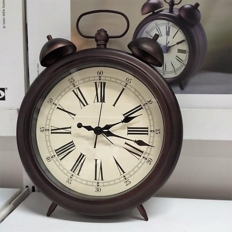 靜音復古鬧鐘時鐘可懸掛指針秒針可掛可擺放鬧鈴棕色