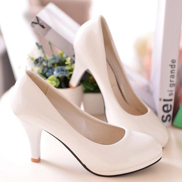OL 萬用漆皮亮面高跟鞋細跟低跟中跟女鞋包鞋黑米白紅