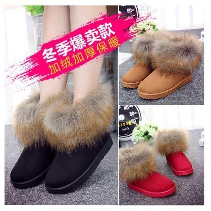 小熊日系 仿狐狸毛雪靴女簡約 平底短筒靴子加厚加絨保暖棉靴學生棉鞋