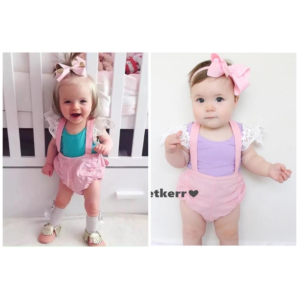 爆款粉色全棉吊帶褲蕾絲飛袖背心套裝
