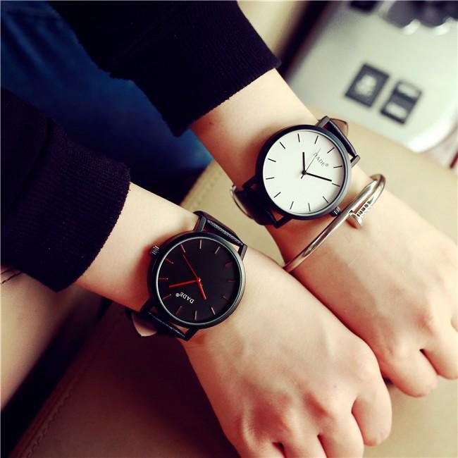 彩色時針秒針簡約刻度錶情侶錶