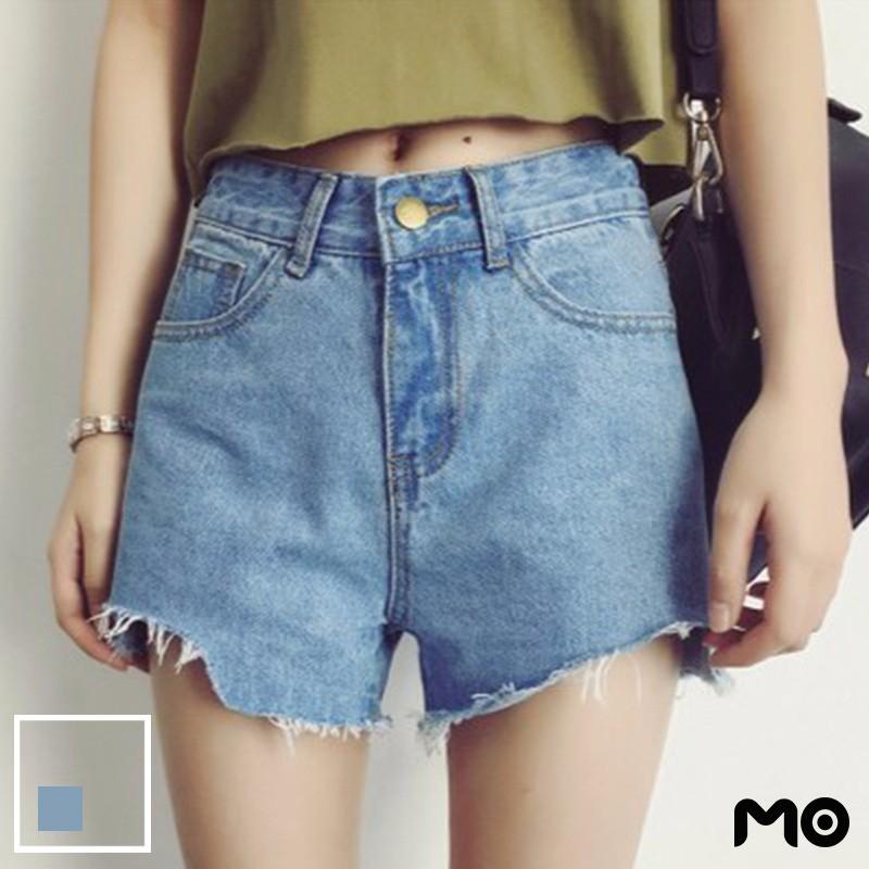 ❤❤牛仔短褲  女褲寬鬆大碼牛仔高腰顯瘦加大 不規則撕邊牛仔直筒短褲熱褲潮 學院風