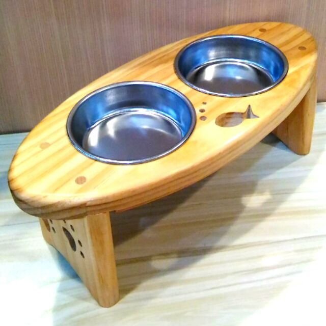 原木實木貓餐桌雙格橢圓型