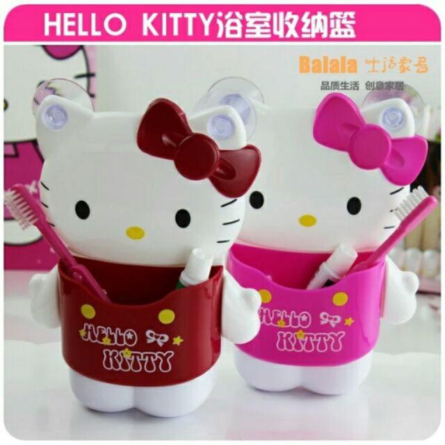 大米米雜貨 韓國hello kitty 吸盤牙刷架