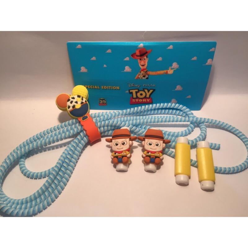 ~MW Meowwalk ~迪士尼Iphone 系列蘋果手機胡迪玩具總動員充電線保護套裝I