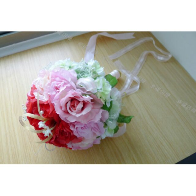 ~幸福店糖~紅橙粉混色玫瑰繡球新娘捧花自助婚紗婚紗道具婚紗 外銷歐洲
