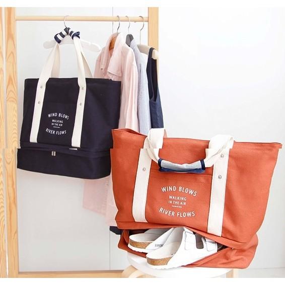 帆布旅行包大容量收納袋旅遊 帆布旅行包大容量單肩包衣物鞋子拉桿收納包媽咪包手提包