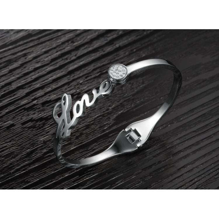 ~彩蝶~T044 ~LOVE 開口手環附 單件價~白鋼項鍊生日 情人對鍊對戒K金鍊懷錶