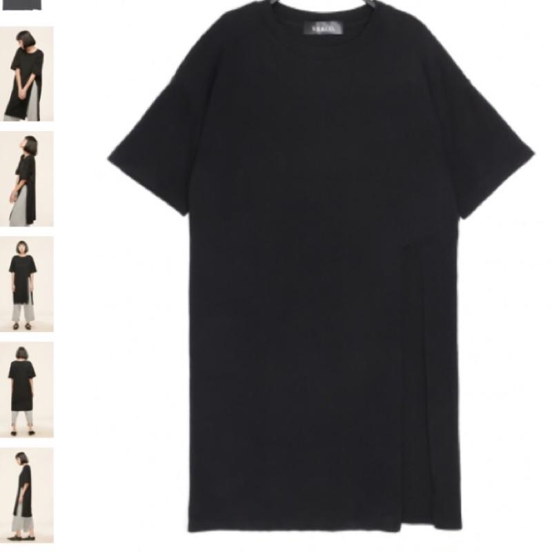 棉質短袖寬鬆版開高叉長版上衣