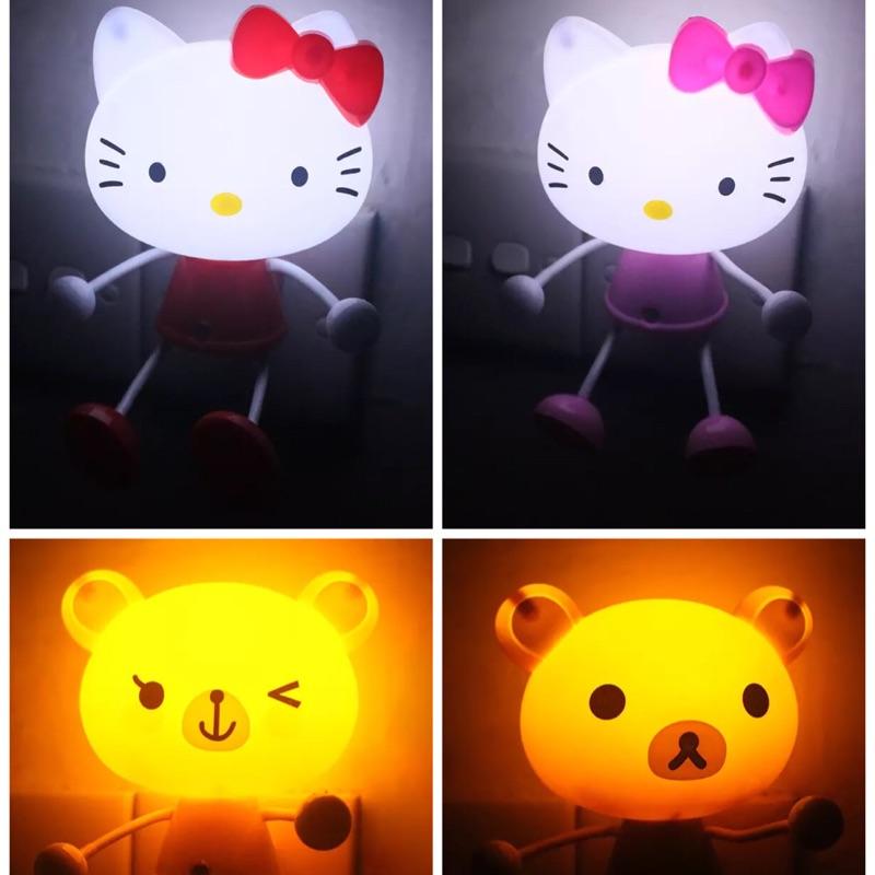 智能光控感應式越暗越亮led 小夜燈卡通kitty 拉拉熊青蛙多啦A 夢小豬小小兵