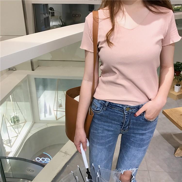 針織T 恤❤️2017  女生衣着寬鬆 簡約 甜美 簡約彈力打底衫V 領百搭螺紋針織修身顯
