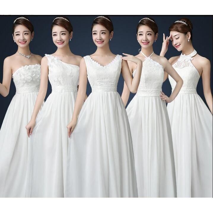 伴娘服長款韓式姐妹團禮服姊妹長裙女 氣質優雅晚禮服