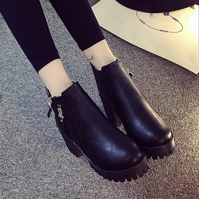 ~鴨鴨3C 館~n n n2016 英倫風復古靴子高跟粗跟側拉鏈短靴女馬丁靴踝靴單靴皮靴