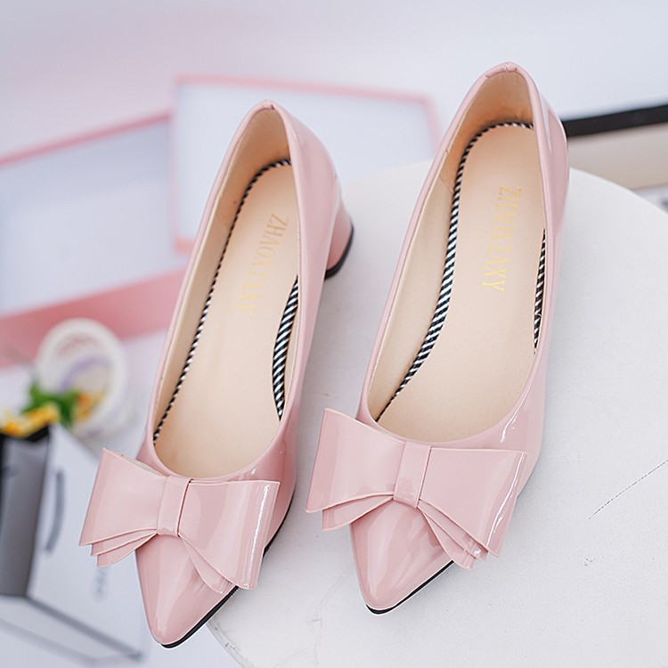 淺口顯瘦單鞋女裸粉色高跟鞋5cm 大蝴蝶結尖頭中跟細跟伴娘鞋
