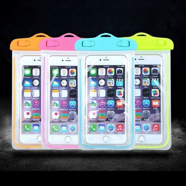 手機防水袋~夜光警示條全透明手機防水背袋防水收納袋~