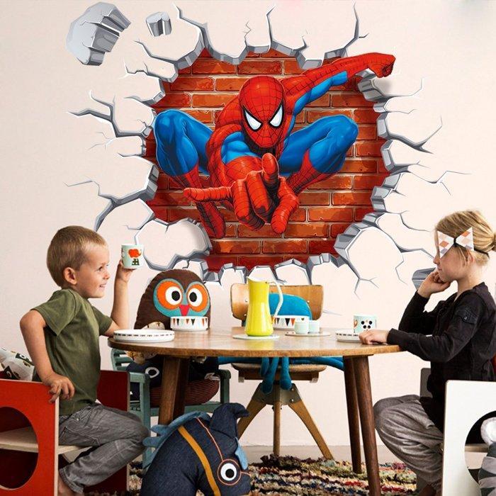 蜘蛛人電影人物立體穿牆壁貼安全環保不傷牆面可重複斯貼 無法寄