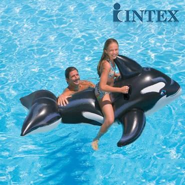微利良品美國INTEX 58561 戲水大黑鯨坐騎兒童充氣座騎水上玩具遊泳輔助工具193
