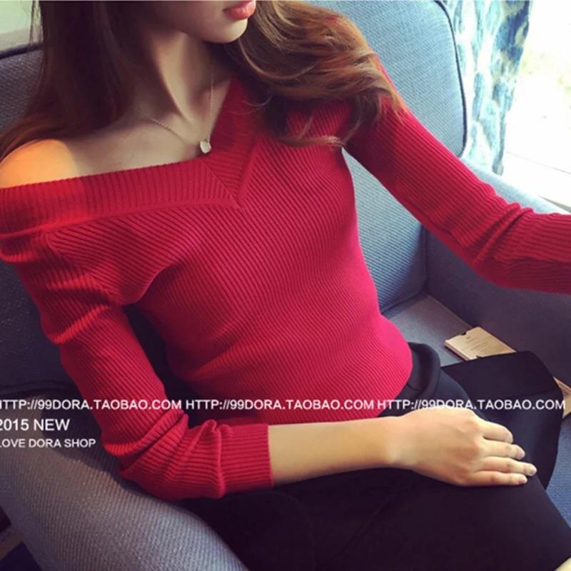 蘑菇 V 領打底衫短款毛衣內搭小衫長袖t 恤 針織衫女款上衣螺紋厚6x090112