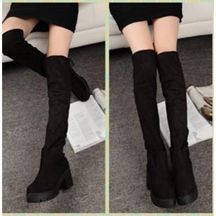 904 014 顯瘦粗跟過膝靴長筒靴高筒長靴圓頭騎士靴女靴38 黑色