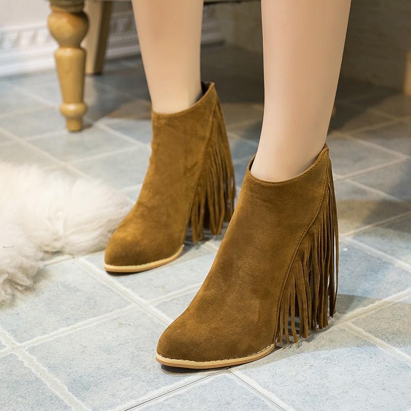 ♛♛♛♛♛♛n 天天 秋 粗跟流蘇短靴側拉鏈磨砂皮高跟圓頭及踝靴復古女靴