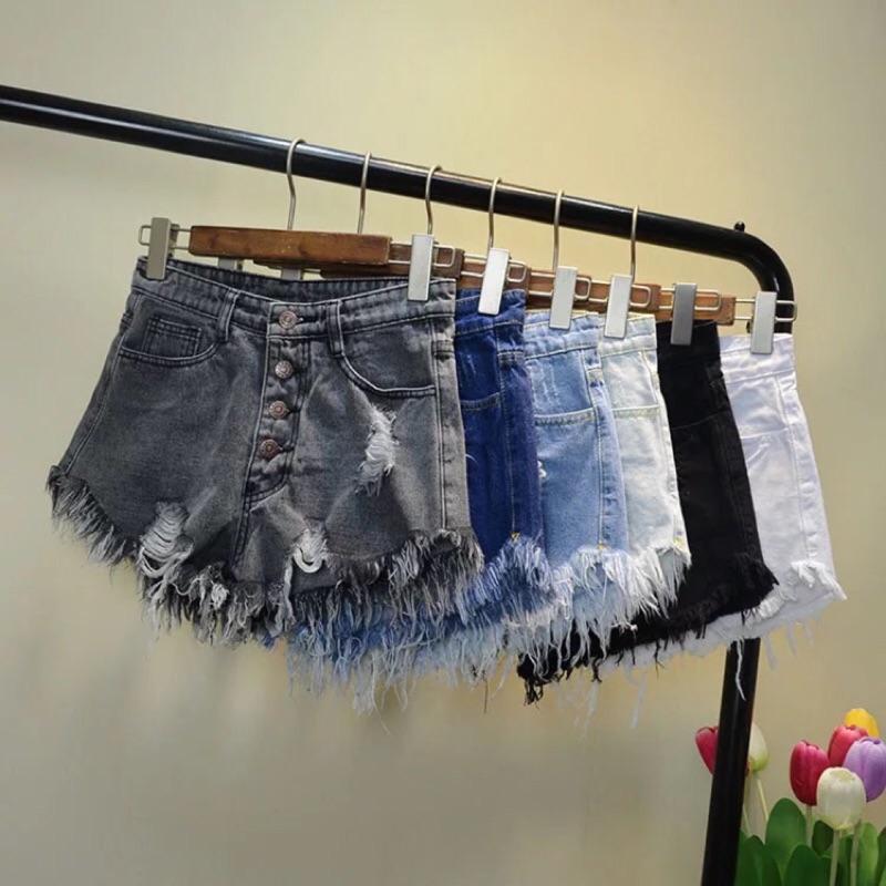 Pita s 風格破損抽鬚寬褲口性感排扣牛仔短褲六色 品特惠款