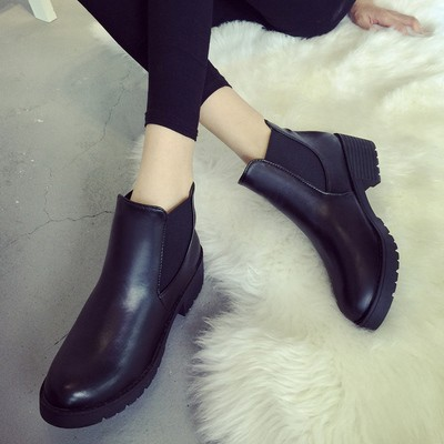 春秋款 圓頭裸靴簡約粗跟舒適及踝靴中跟防水臺厚底女短靴靴子裸靴短靴長靴雨靴雪靴過膝靴靴子裸
