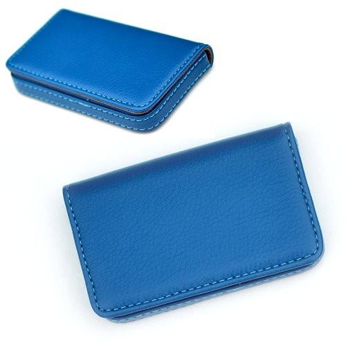 ~1 0267 ~低調款皮格輕量手感名片夾名片盒藍色