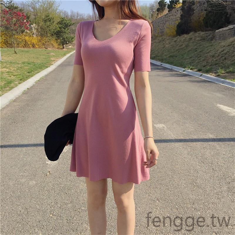 ~ ~ 短袖連衣裙超顯身材的收腰顯瘦百搭純色簡約顯氣質v 領A 字裙