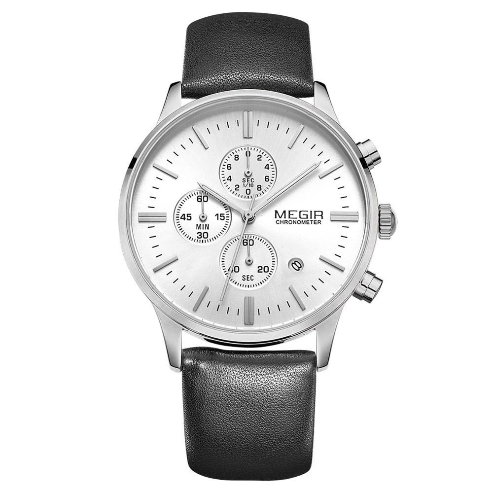 MEGIR 2011 防水男 帶日期石英手錶