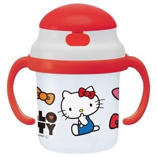 ◆花小姐◆ 限定Hello Kitty 隱藏吸管幼兒學習水杯雙耳學習230ml 8 個月以