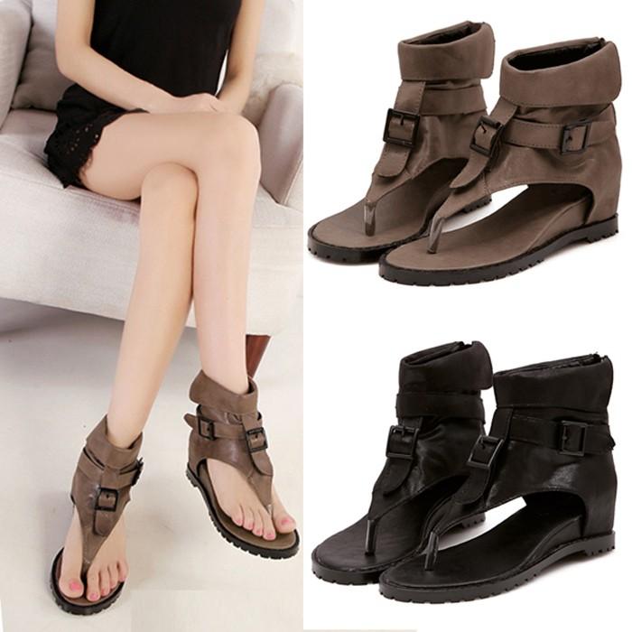 舒適羅馬平底涼鞋皮帶扣高幫夾趾人字坡跟女鞋黑色復古皮質鞋