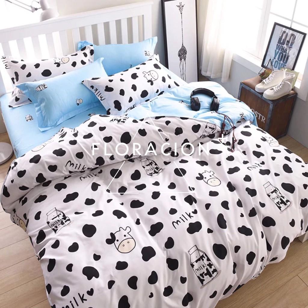 〈快樂小乳牛款〉北歐簡約小清 單人雙人雙人加大雙人特大薄床包薄被套四件組〈 7 14 個工