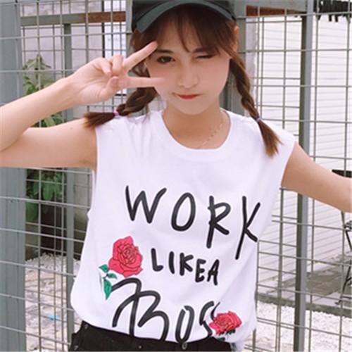 正韓女生衣著百搭學院風大碼小清新寬松字母印花無袖T 恤