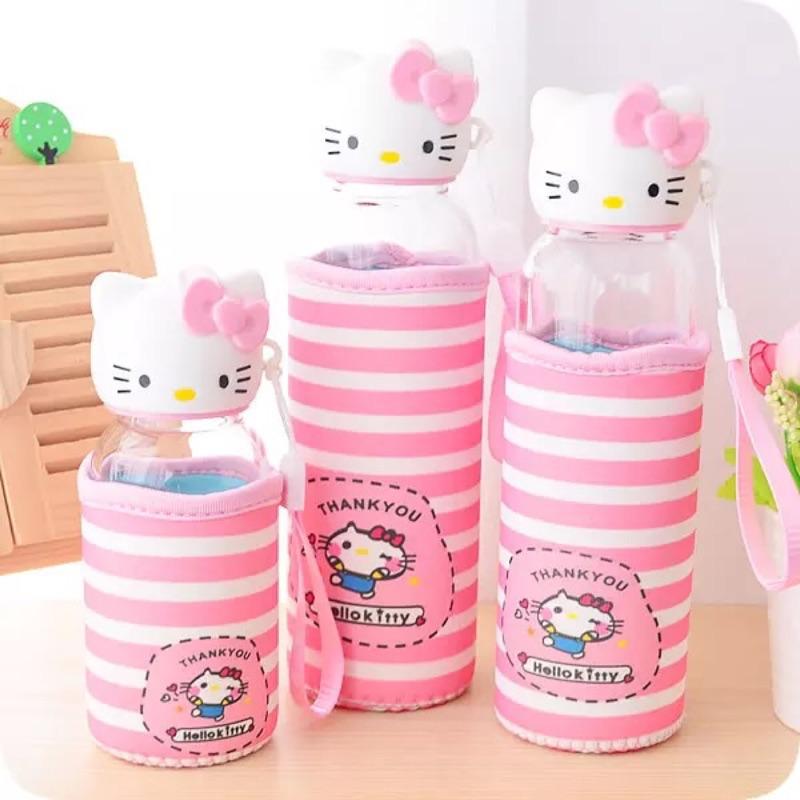 HELLO KITTY 凱蒂貓貓頭玻璃杯手拿杯透明玻璃水杯隨身杯隨手杯隨手瓶水壺公仔杯