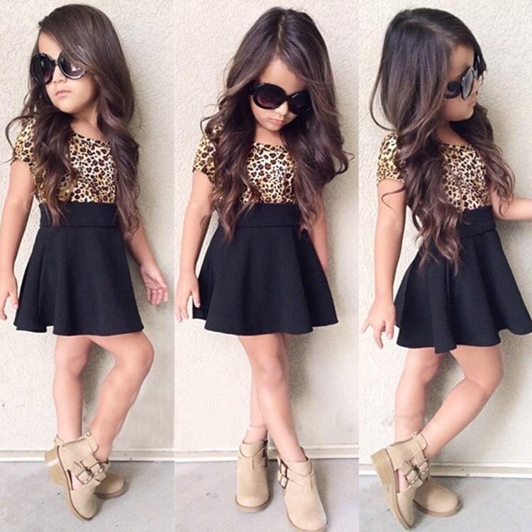 豹紋上衣黑色裙子夏裝女孩套裝