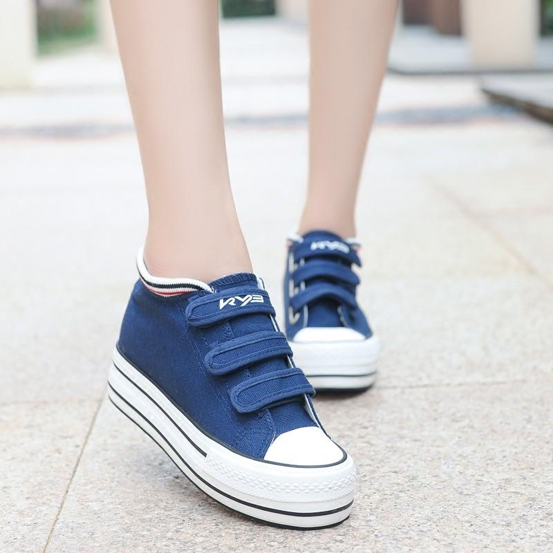 低幫厚底帆布鞋女內增高 潮學生鞋魔術貼懶人鞋松糕 鞋