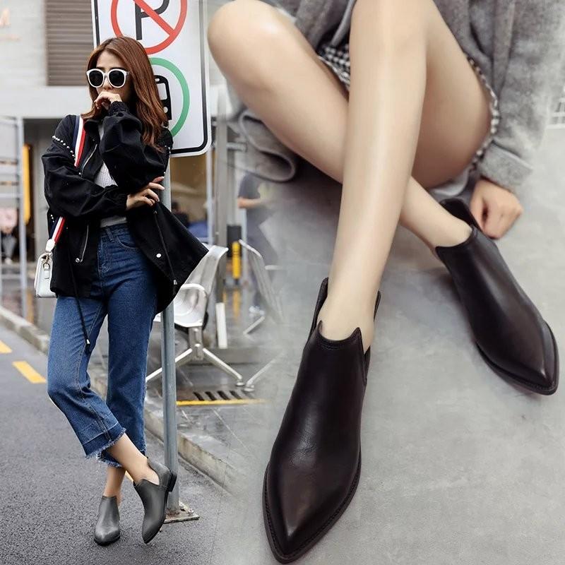 ~風雅軒~短靴女春秋單靴英倫風平底尖頭及踝靴秋 切爾西靴百搭馬丁靴女