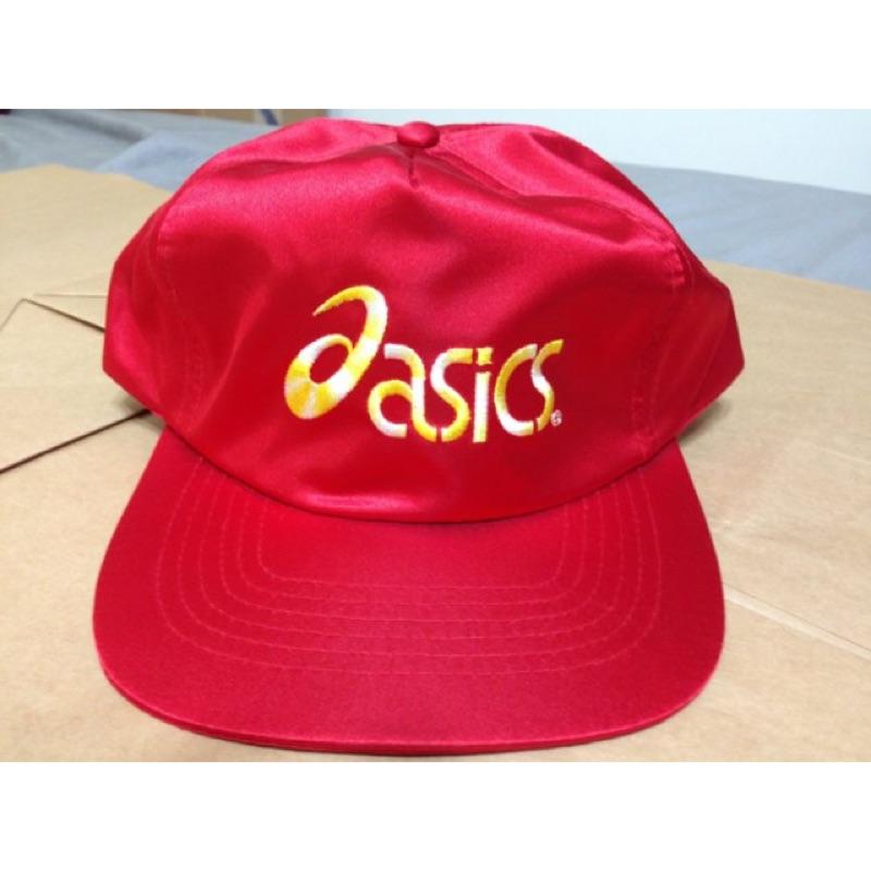 ~RACE ~ASICS 紅黃白CAP 後可調尼龍布棒球帽老帽MIT 90S 古著老品SI