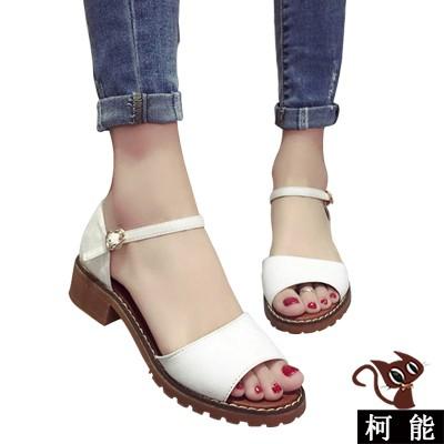涼鞋~7008 ~ 涼鞋一字露趾寬板帶低跟厚底涼鞋羅馬魚嘴厚底涼鞋