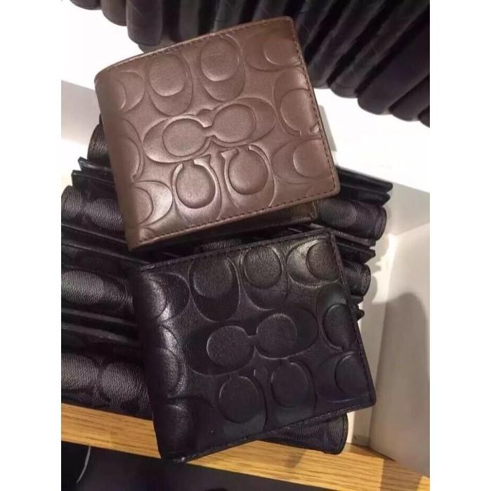 美國 COACH 75005 黑色皮革C Logo 壓印男夾零錢袋款當當