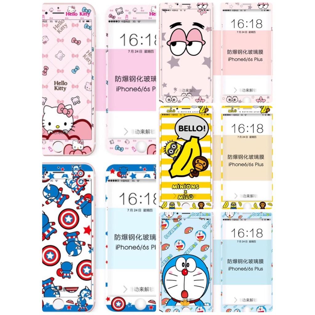 I phone6 6s I phone6 6s plus 蘋果全屏全覆蓋彩膜卡通前鋼化膜3