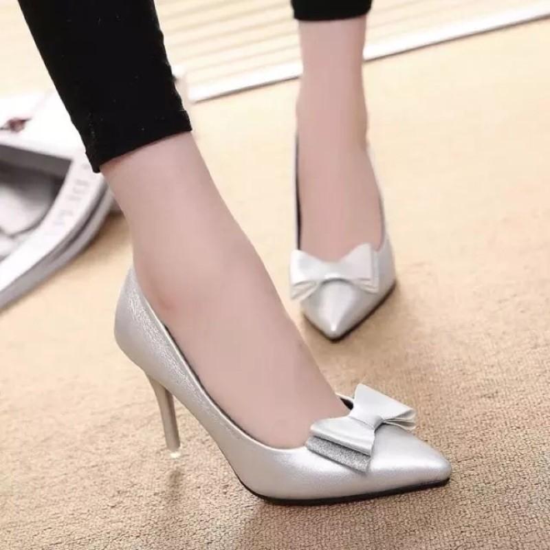 春秋尖頭超高跟鞋T 臺走秀女鞋子拼接性感超細跟銀色單鞋