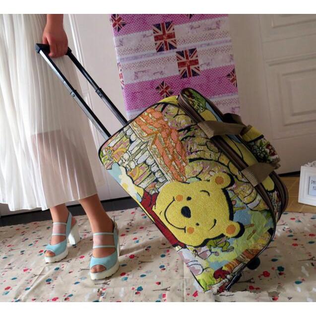 維尼熊旅行拉杆箱卡通手提旅行包可愛小熊 登機箱包