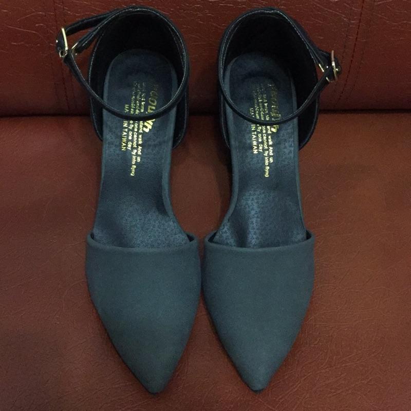 法式尖頭繫帶繞踝跟鞋